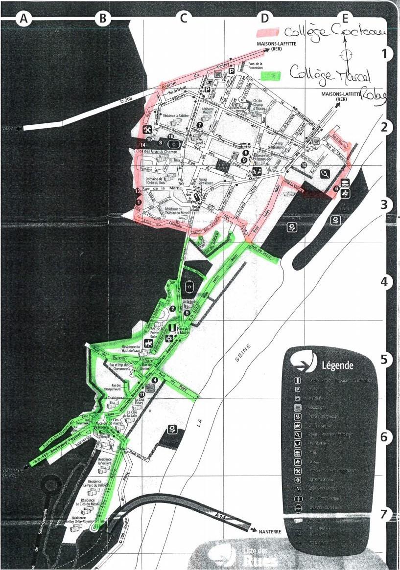 Carte de répartition des collégiens entre Maisons-Laffitte et Saint-Germain-en-Laye